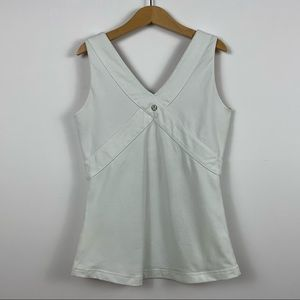 Lululemon White Wet Dry Warm Shelf Bra V-neck Tank